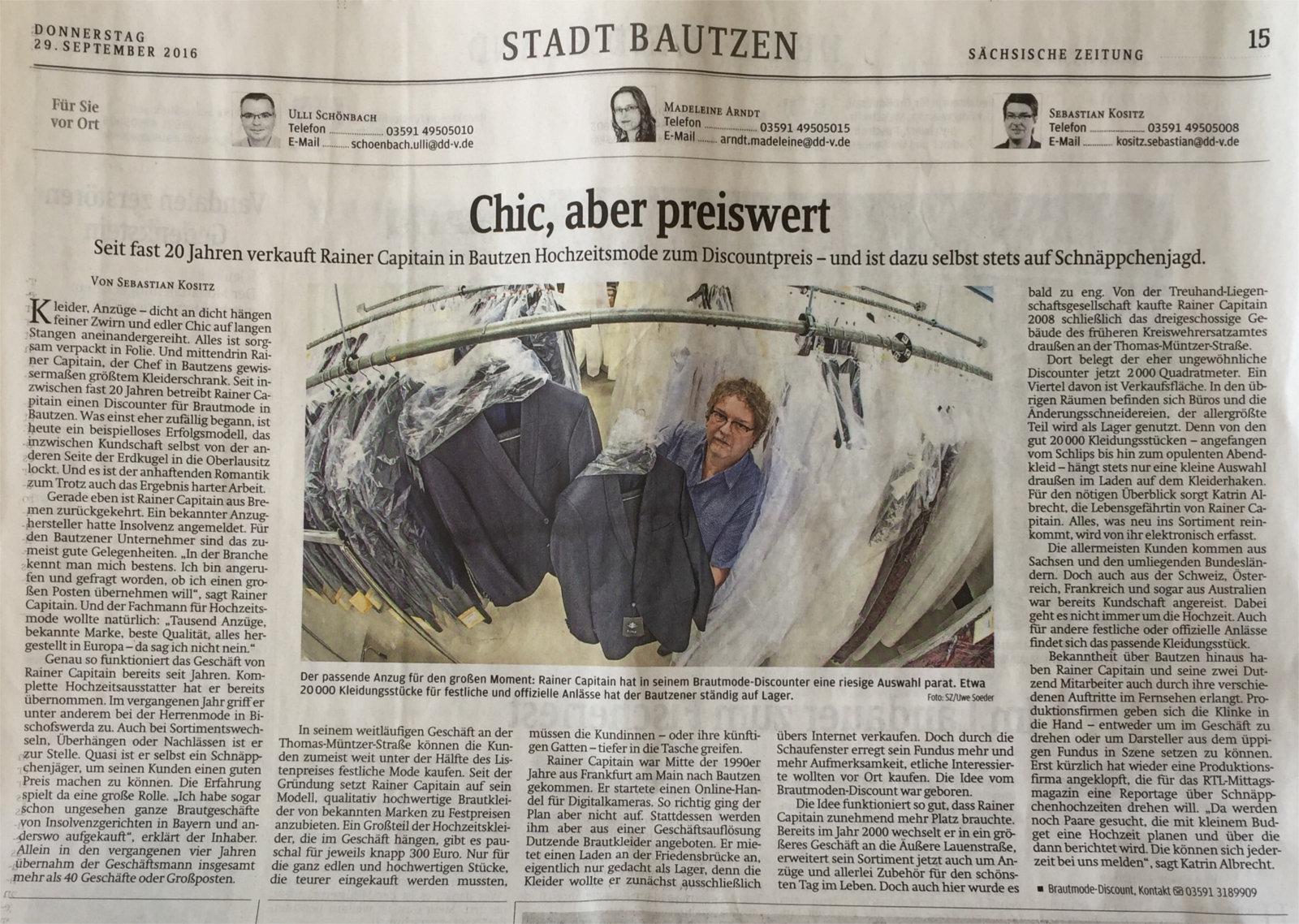 BrautmodeOutlet Bautzen Outlet Brautmode Print Sächsische Zeitung 2016