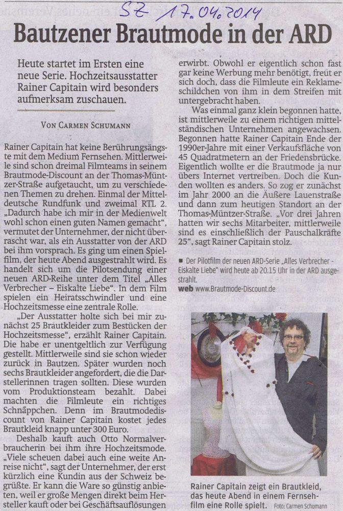 BrautmodeOutlet Bautzen Outlet Brautmode Print Sächsische Zeitung ARD Serie 2014