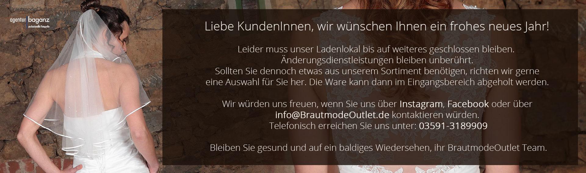 Brautmode Outlet Bautzen Slider Corona Schließung Kontakt 2021